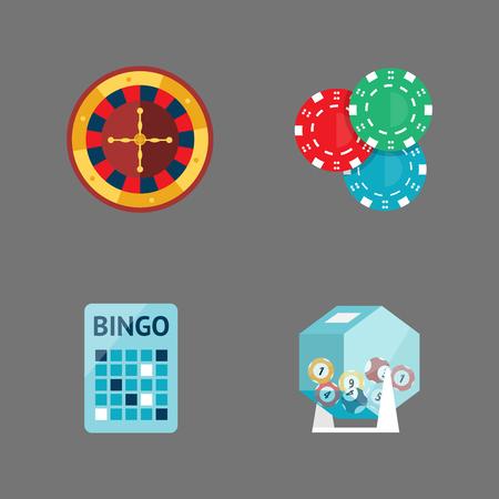 Casino game, poker, gambler symbols. Blackjack cards, money, winning, roulette, joker vector illustration.