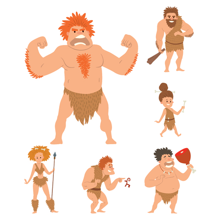 Caveman primitive stone age cartoon neanderthal people character evolution vector illustration.