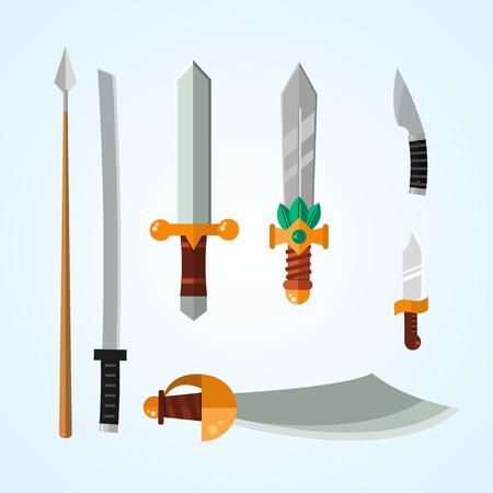 剣槍のナイフ武器危険な金属ベクトル イラストは刃セットです。  イラスト・ベクター素材