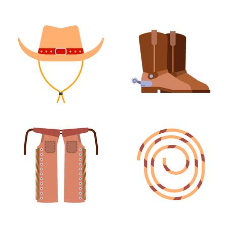 Elementi selvatici ovest impostare icone attrezzature rodeo cowboy e diversi accessori illustrazione vettoriale. Archivio Fotografico - 76470081