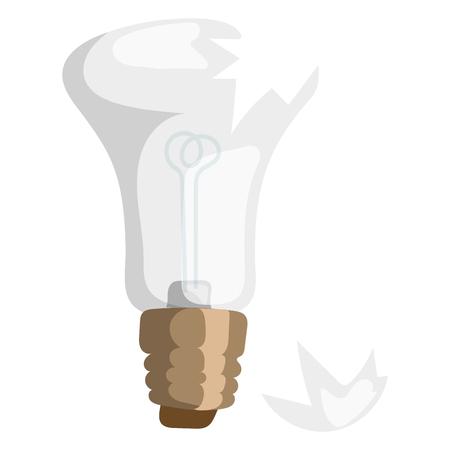 Dessin animé ampoule cassée vecteur illustration lampe lumière isolé conception objet équipement électrique électrique lumineux décoration icône puissance forme Banque d'images - 76433287