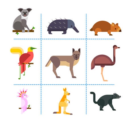 platypus: Australia wild animals cartoon popular nature characters flat style and australian mammal aussie native forest collection vector illustration. Illustration