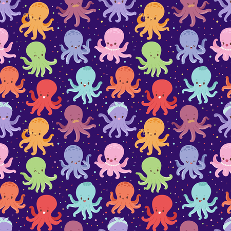 Illustration of cartoon octopus character vector seamless pattern Illustration