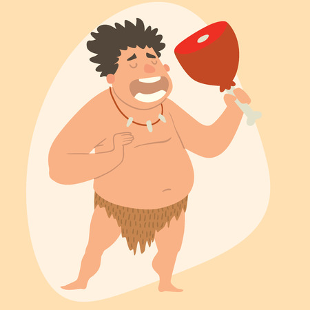 mankind: Caveman primitive stone age man cartoon neanderthal human character evolution vector illustration.
