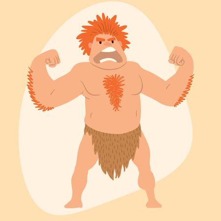 Caveman primitive stone age man cartoon neanderthal human character evolution vector illustration.