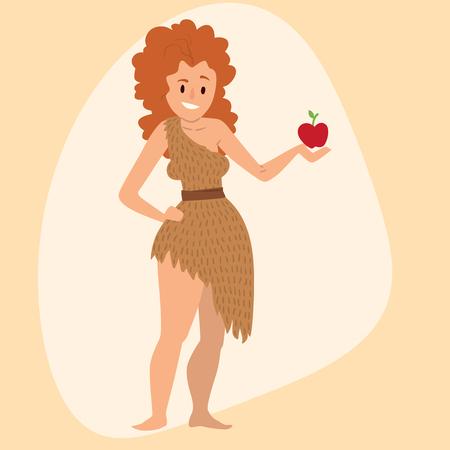 Caveman primitive stone age cartoon neanderthal woman character evolution vector illustration. Çizim