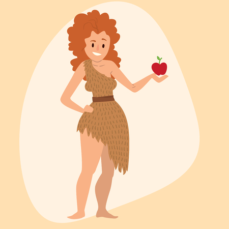 Caveman primitive stone age cartoon neanderthal woman character evolution vector illustration. Illustration