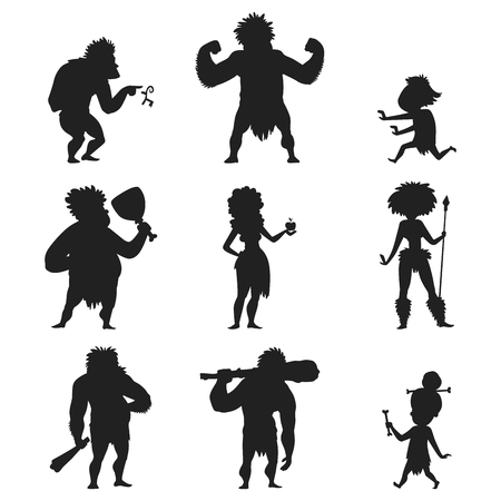 Caveman primitive stone age black silhouette people character evolution vector illustration.