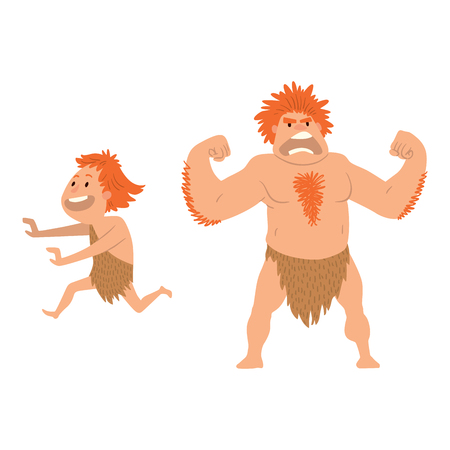 standing stone: Caveman primitive stone age cartoon neanderthal people character evolution vector illustration.
