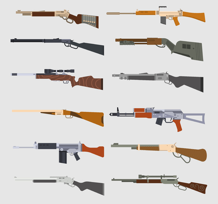 Machine guns vector set. Ilustração