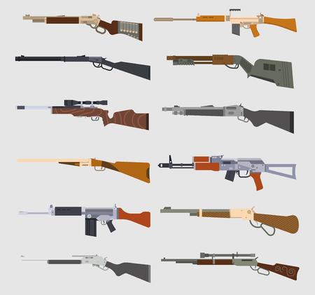 Machine guns vector set. Illustration