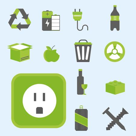basura organica: Recycling nature icons waste sorting environment creative protection symbols vector illustration.