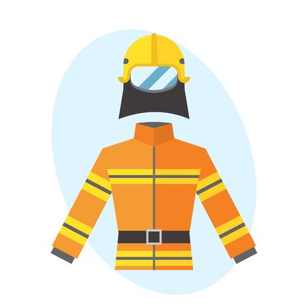 소방 관 노란 화재 방지 균일 한 장비 구조 안전 전투기 전문 보호 벡터.