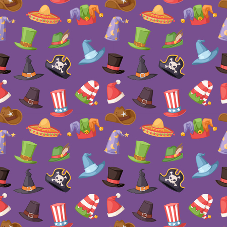 Different funny hats for party and holidays masquerade vector seamless pattern Illustration