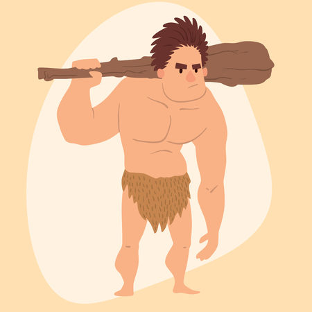 Caveman primitive stone age cartoon man neanderthal human character evolution vector illustration.