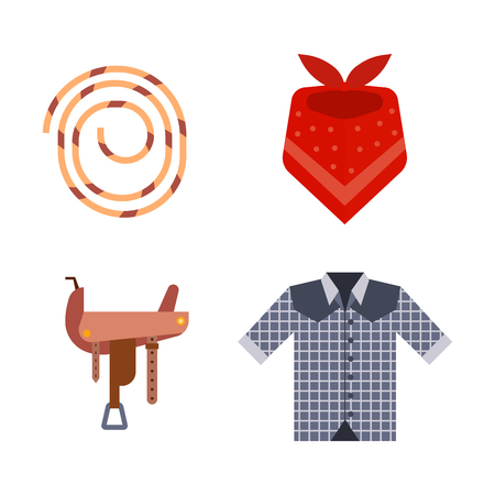 stirrup: Wild west elements set icons cowboy rodeo equipment and different accessories vector illustration. Illustration