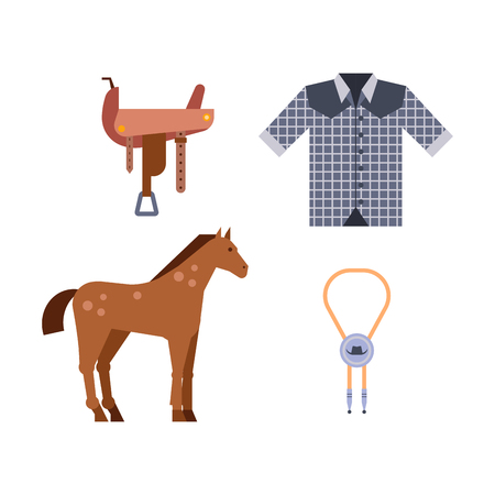 yegua: Salvaje oeste elementos conjunto iconos vaquero rodeo equipo y accesorios diferentes ilustración vectorial.