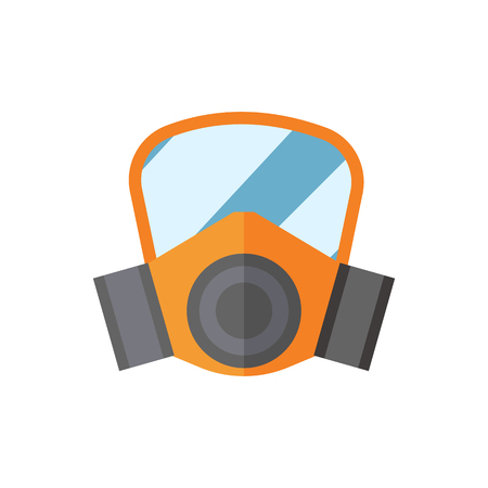 dangerous construction: Respiratory protection mask vector illustration protection tool industry safety for human organs.