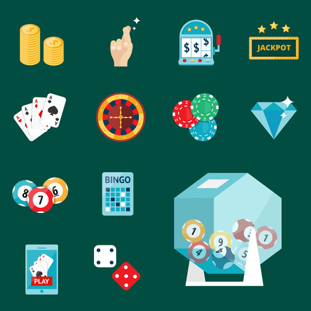 Casino game poker gambler symbols blackjack cards money winning roulette joker vector illustration.