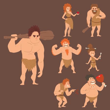 Caveman primitive stone age cartoon neanderthal people character evolution vector illustration.