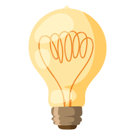 Yellow light bulb vector illustration isolated electricity lightbulb lamp power energy electric illumination inspiration concept symbol bright Illustration