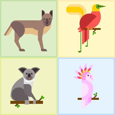 platypus: Australia wild animals cartoon popular nature characters flat style and Australian mammal.