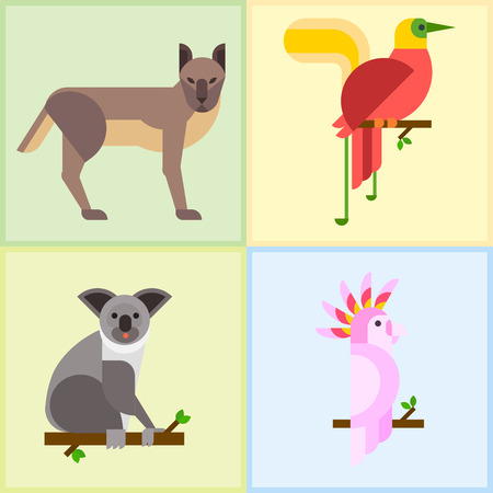Australia wild animals cartoon popular nature characters flat style and Australian mammal.