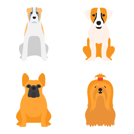 Funny cartoon dog character bread cartoon puppy friendly adorable canine vector illustration.