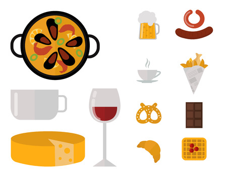 raw chicken: European tasty food cuisine dinner food showing delicious elements flat vector illustration.
