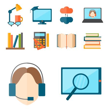 Education and school vector illustration web icon set college training graduate symbols.