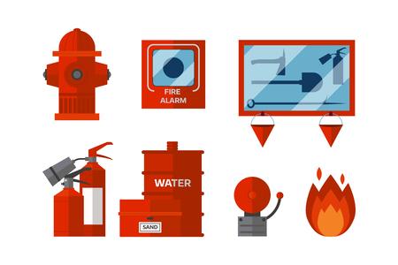 Equipo de seguridad contra incendios herramientas de emergencia bombero seguro peligro de accidentes protección contra la llama ilustración vectorial.