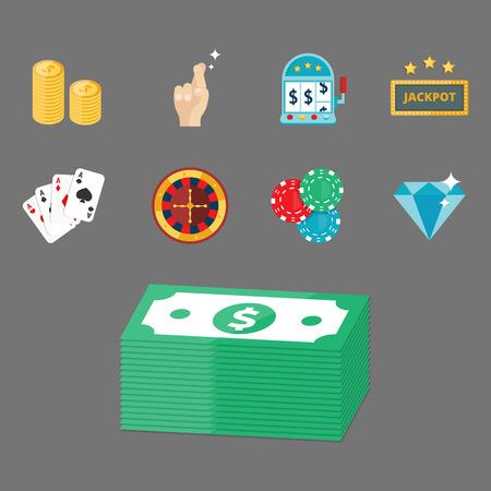 wheel of fortune: Casino game poker gambler symbols blackjack cards money winning roulette joker vector illustration.