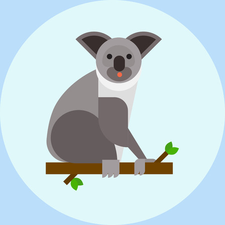 Young koala sitting on tree branch australia bear cute mammal peaceful relaxation nature vector Illustration