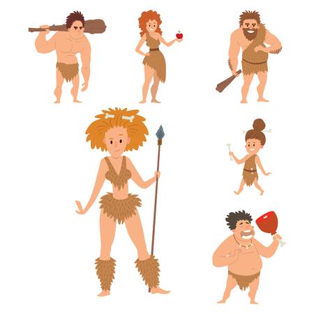 neanderthal women: Caveman primitive stone age vector illustration.