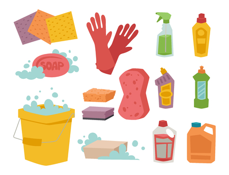 dishwashing liquid: Housework cleaning products vector illustration.