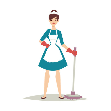 Housewife cleaning vector.