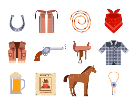 Wild west elements set icons cowboy rodeo equipment and different accessories vector illustration. Иллюстрация