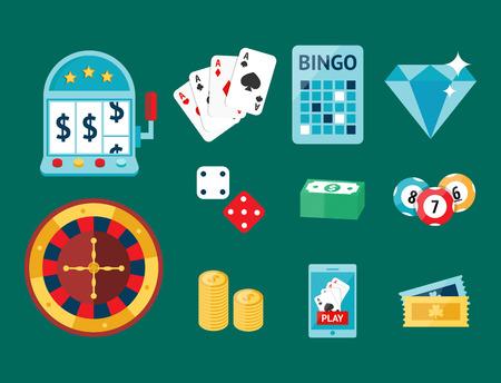 Casino game poker gambler symbols blackjack cards money winning roulette joker vector illustration.