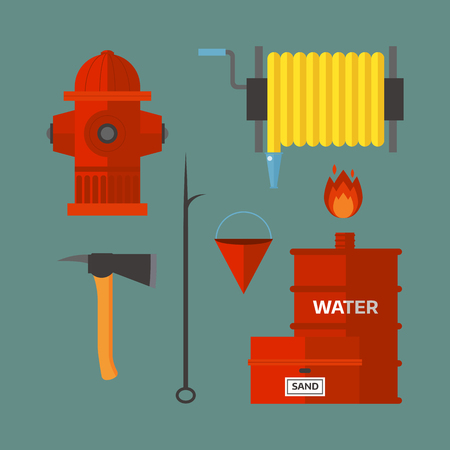 Fire safety equipment emergency tools firefighter safe danger accident flame protection vector illustration. Illustration