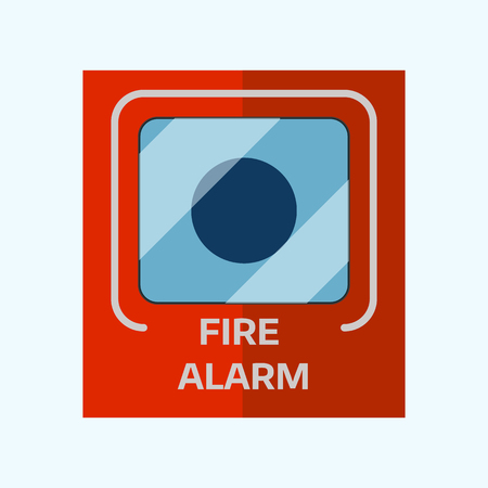 Fire alarm box on wall for warning security wall bell button evacuation protection push vector illustration.