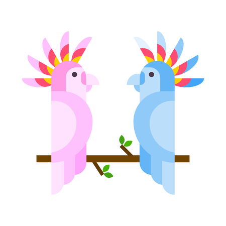 Cartoon tropical parrot wild animal bird vector illustration and wildlife cute feather zoo color nature vivid perch tropics fly couple jungle pretty macaw. Illustration