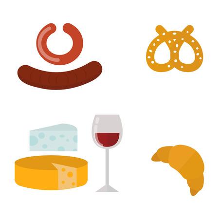 Europäische leckere Essen Küche Abendessen Essen zeigt leckere Elemente flache Vektor-Illustration. Standard-Bild - 76994668