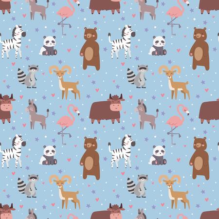 Animals cartoon wildlife nature seamless pattern jungle texture bird colorful retro wallpaper vector illustration. Zoo cute funny design hippopotamus print textile. Stock Vector - 76994195