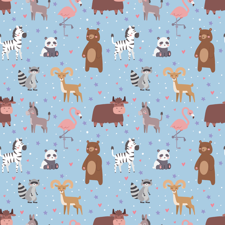 Animals cartoon wildlife nature seamless pattern jungle texture bird colorful retro wallpaper vector illustration. Zoo cute funny design hippopotamus print textile. Illustration