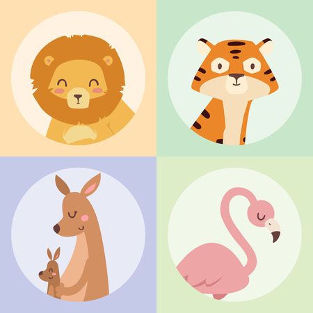 Cute zoo cartoon animals isolated funny wildlife learn cute language and tropical nature safari mammal jungle tall characters vector illustration. 版權商用圖片 - 77093257