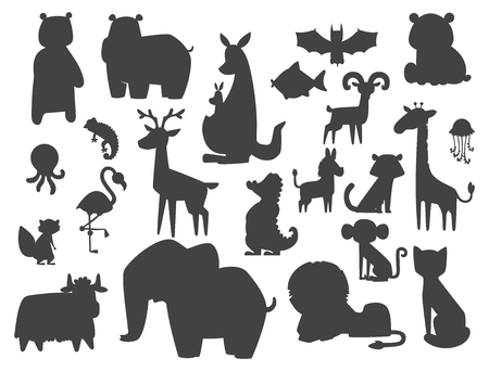 Cute zoo cartoon silhouette animals isolated funny wildlife learn cute language and tropical nature safari mammal jungle tall characters vector illustration. Иллюстрация