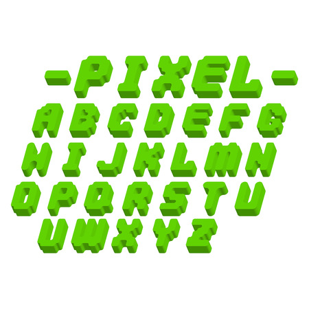 Pixel retro font video computer game design 8 bit letters electronic futuristic style vector abc typeface digital creative alphabet isolated