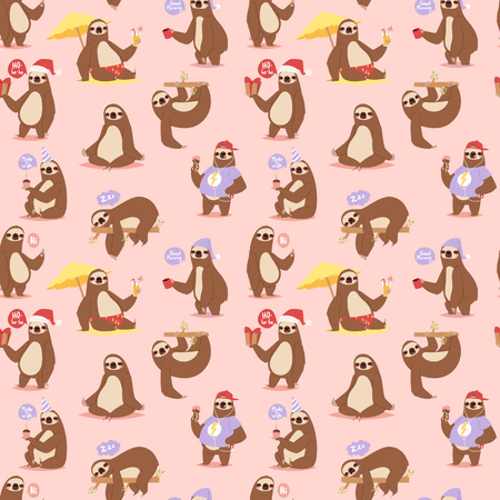 Laziness sloth animal character different pose seamless pattern vector Ilustrace