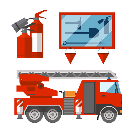 Fire safety equipment emergency tools firefighter safe danger accident flame protection vector illustration. Ilustração