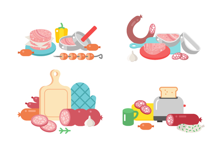 meat chopper: Meat products ingredient and rustic elements preparation equipment food flat vector illustration. Illustration